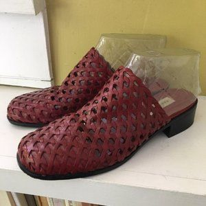 Red Leather Woven Slides Sandals Mules sz 7